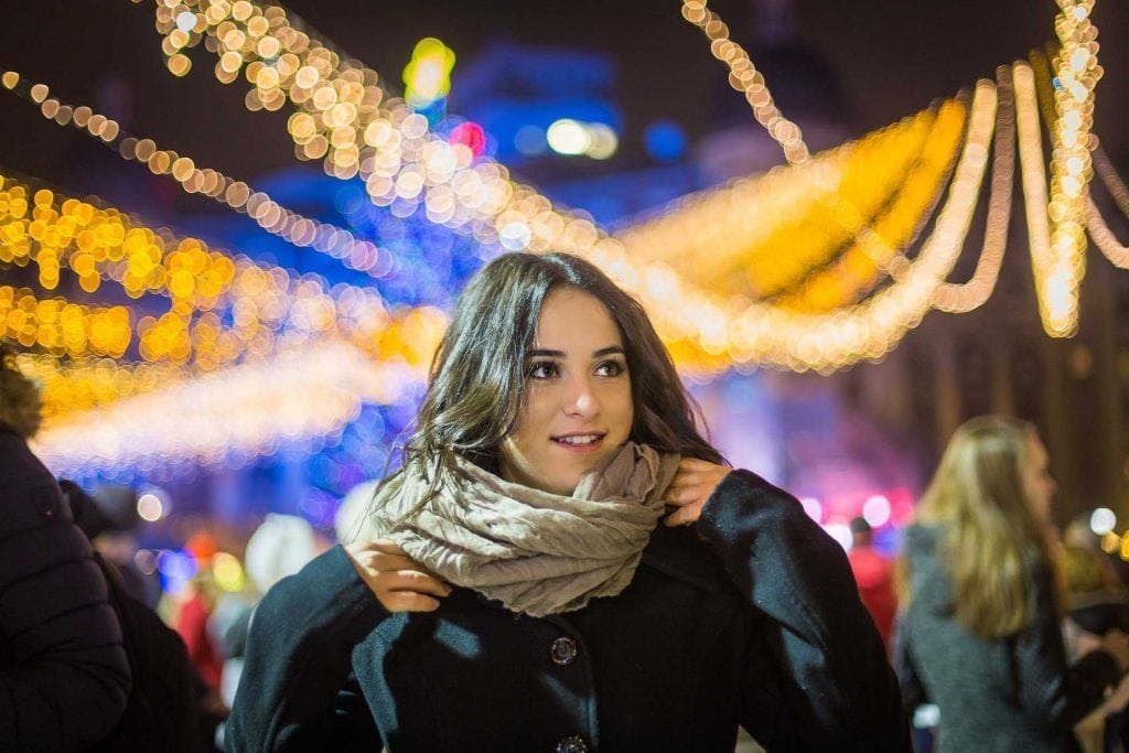 Portrait with Christmas Lights in the background