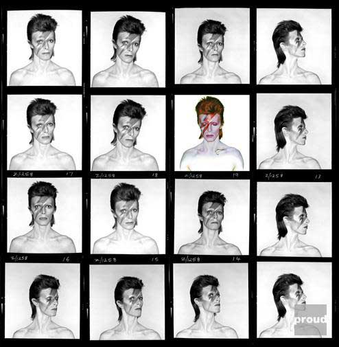 Contact Sheet for the Aladdin Sane Photo Shoot Photo Duffy © Duffy Archive & The David Bowie Archive ™