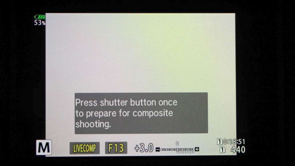 Olympus Live Composite mode screen