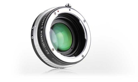 Lens Turbo II N focal reducer adapter lets you mount Nikon F lenses to Fuji X cameras
