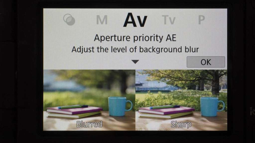 Canon 800D Guide mode aperture priority Guide screen