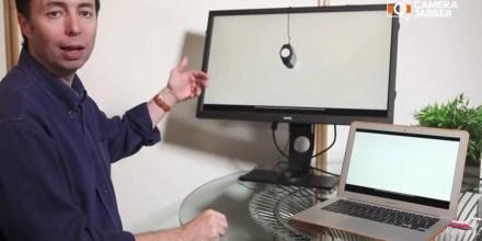 Ashley Karyl demonstrates the X-Rite i1 Display monitor calibration