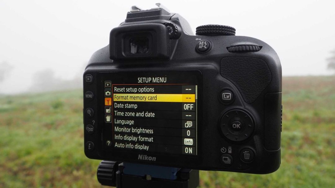 Format an SD card in the Nikon D3400