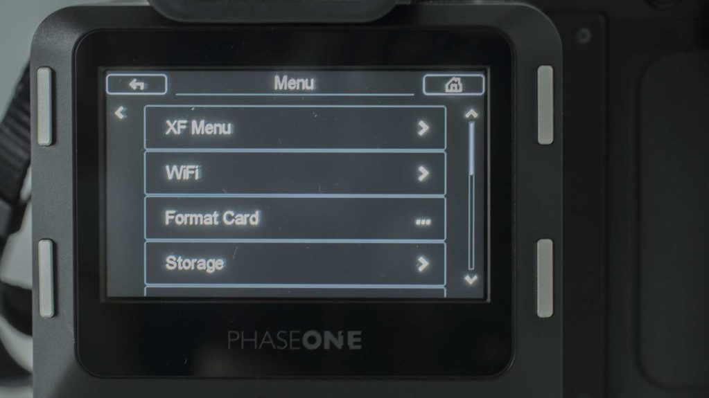 Phase One XF IQ3 Achromatic Review: Main Menu