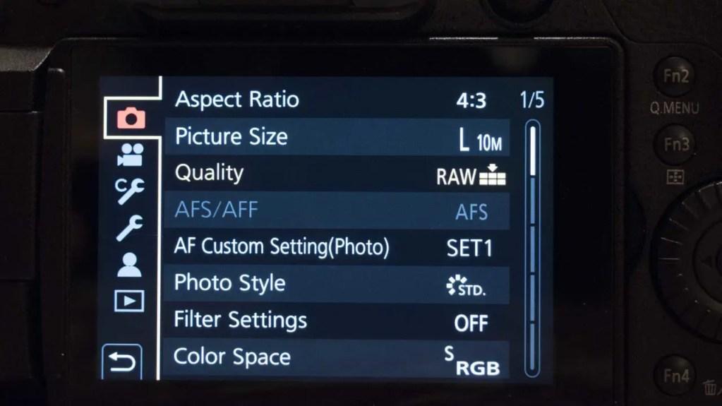 Panasonic Lumix GH5S Review: Menu Screen