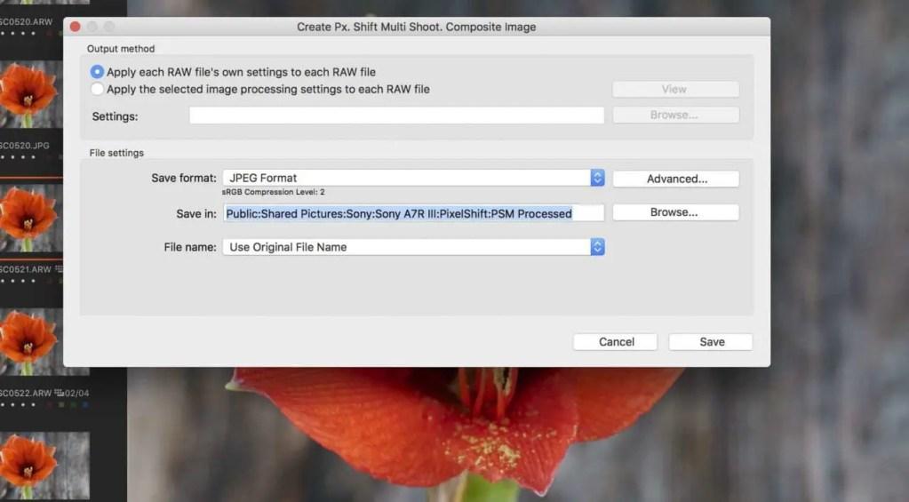 Sony Imaging Edge: Pixel Shift Multi Shooting Mode