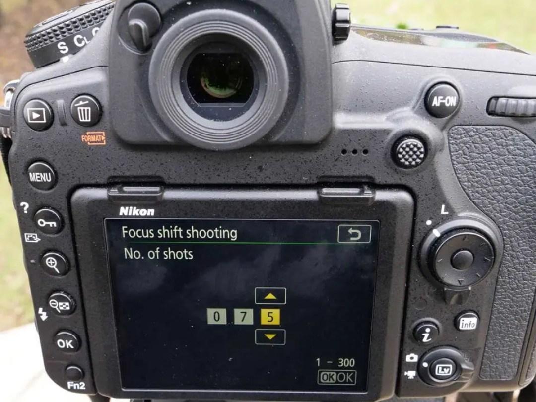 Nikon 850 Focus Shift: 02 Set your number of shots