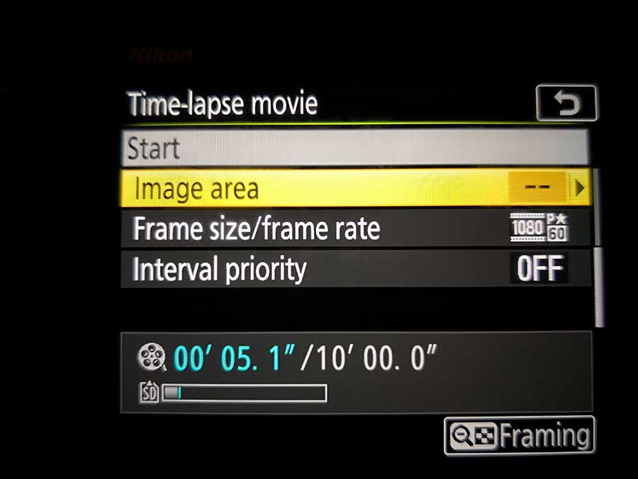 How to set up the Nikon D850 Timelapse Movie mode: image area
