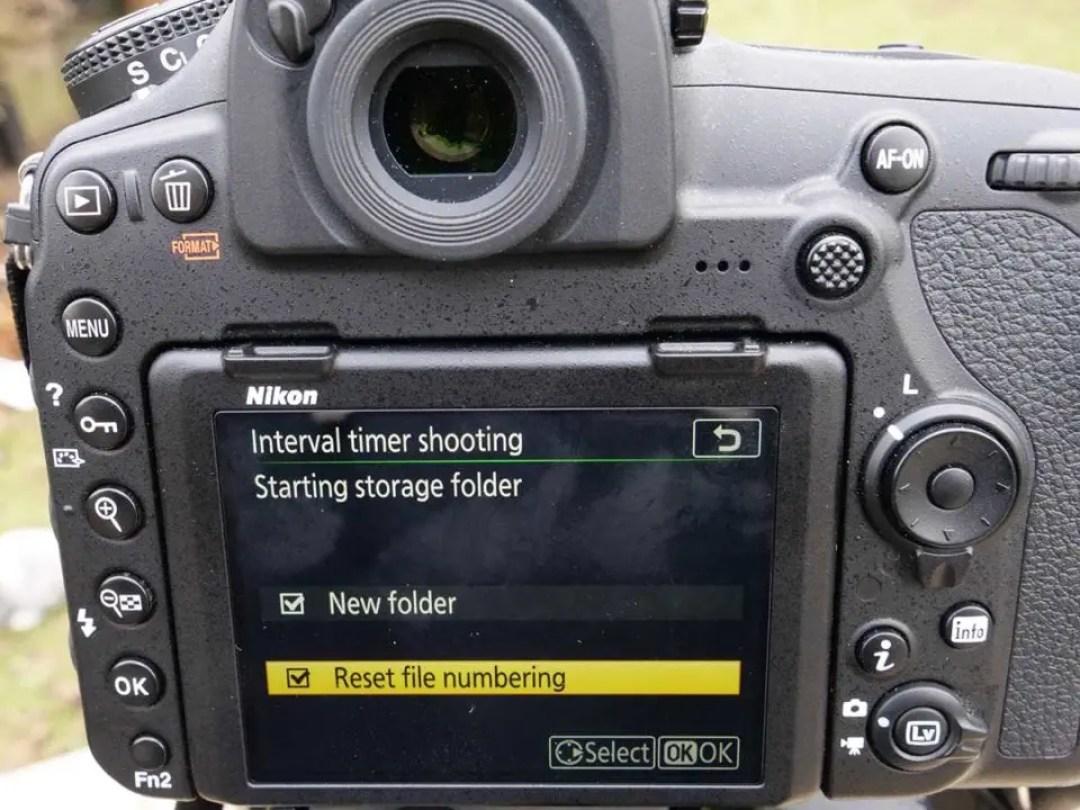 Nikon D850 timelapse tutorial: new folder