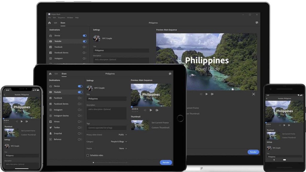 Adobe CC update announced: New mobile video editing package called Rush to come in 2019