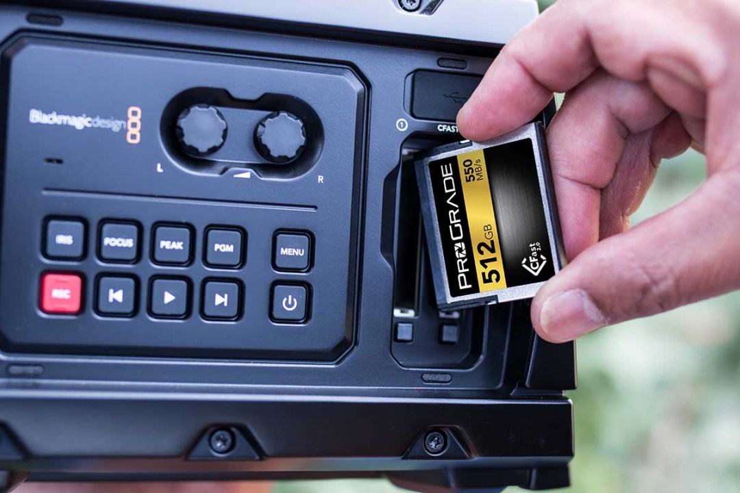 ProGrade CFast 512GB in BlackMagic