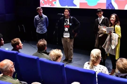 NAGAYAMA Tadashi and MIEDA Natsuki (center) during the Q&A of Being Natural at Lant