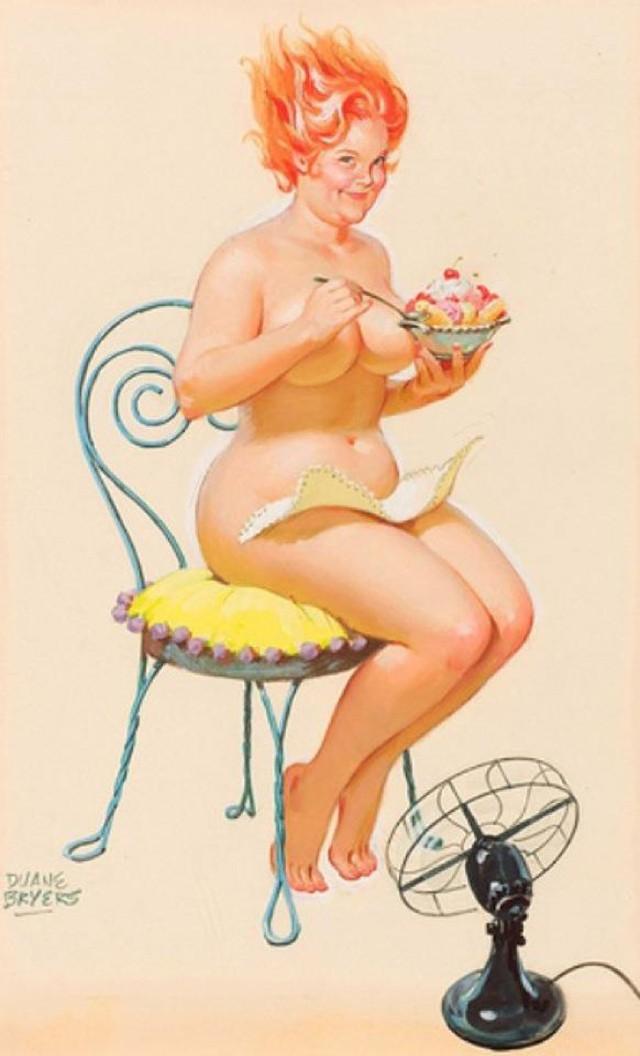 50 винтажных пин-ап иллюстраций о неунывающей Хильде от художника Дуэйна Брайерса