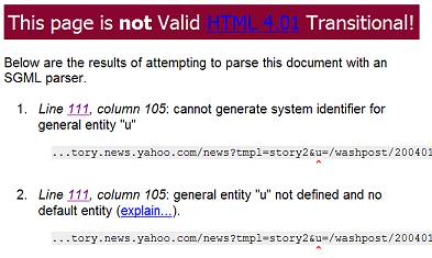 Validation errors for a web page