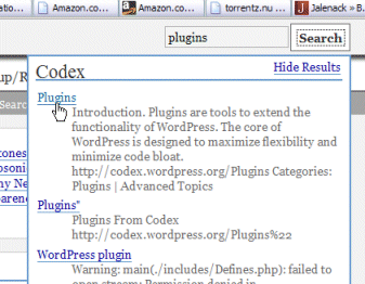 Top of the Codex search plugin shows the results of the Codex part of the search