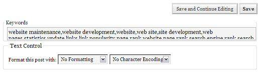 screenshot of TextControl plugin in use on WordPress Write Post screen