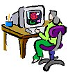 Graphic of a person at a computer.