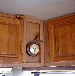 The ceiling and cabinets have stains from water damage all to be cleaned