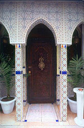Arab door way with tile mosaics, Budapest, photograph by Brent VanFossen
