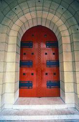 red wooden door, Spain, photograph by Brent VanFossen