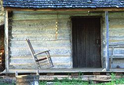 Cabin porch and door, Buffalo River mountain area, Arkansas, photograph by Brent VanFossen