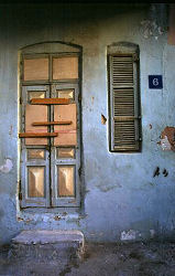 Copper covered doorway held together temporarily, Old Tel Aviv, Israel, photograph by Brent VanFossen