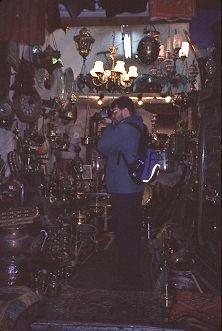 Brent photographs the ancient shops in Jerusalem, photo by Lorelle VanFossen