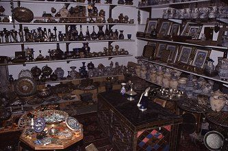 Inside one of the many souvenier and antique shops in the Old City of Jerusalem, photo by Brent VanFossen