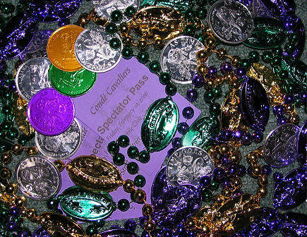 Beads and invitation to the Conde Cavaliers Mardi Gras Parade and Events