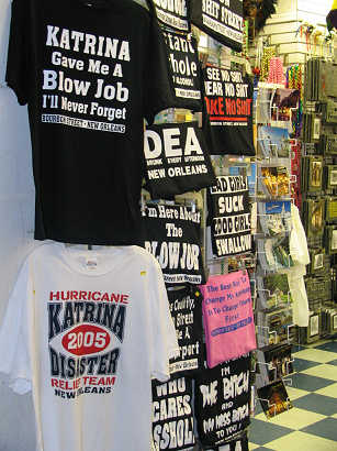 T-shirts in New Orleans take advantage of Hurricane Katrina jokes, photograph by Lorelle VanFossen