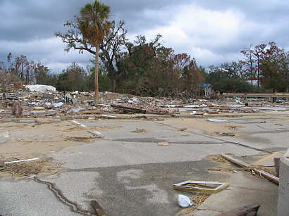 Water front apartments wiped clean with destruction - Ocean Springs, Mississippi