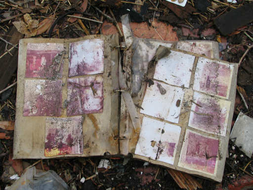 Ruined photo album in the storm wreckage