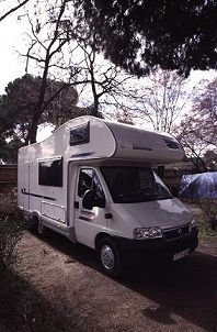 Rented Class C Motor home in Spain, photograph by Lorelle VanFossen