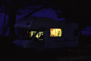 Rented motor home at night in Spain, photograph by Brent VanFossen