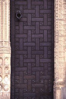 Part of the front metal door of the cathedral, Toledo, Spain, photograph by Brent VanFossen
