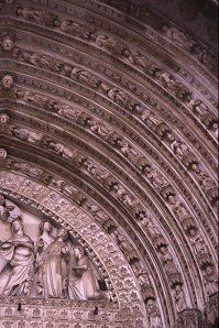 Close up of the front facade of the cathedral, Toledo, Spain, photograph by Brent VanFossen