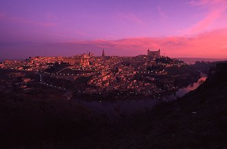 Sunrise on the ancient walled city of Toledo, Spain, photograph by Brent VanFossen