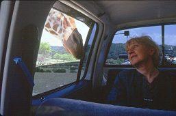 Lorelle's mother, Ramona, gives THE LOOK to a nosy giraffe, photo by Lorelle VanFossen