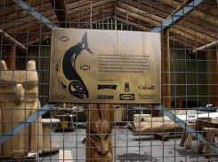 granville island totem carving project sign by lorelle vanfossen