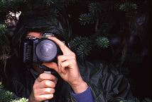 Duane Hansen hides in camo in the trees behind his camera.