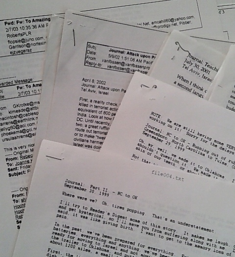 Emails I sent out about our early travels kept for many years by my father - Lorelle VanFossen.
