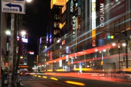 Blur of cars on city street - Japan - photography by Brent VanFossen.