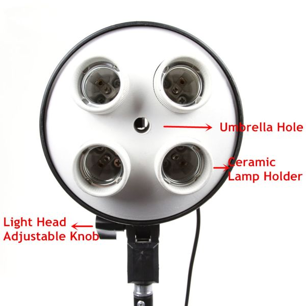 Four-Holder Light is applicable for shooting in studios or workshops. - This light has four E27 holders to fix 4 bulbs. - Two Switches control the on/off of the bulbs. - With Umbrella hole to hold studio umbrellas. - The ideal continuous lighting source. The safe and reliable light is easy to operate. - Can install a softbox (such as rectangle, quadrangle and octagonal softboxes). - The head acts as a speedring for the dedicated softbox. - Built-in control handle to protect you from hot light body during operation. - Design for Film Camera, Digital Photo and Video Shooting. - Ideal for Online Sellers or Userage in House or Small Office. Remarks: This item is not including photo bulbs, umbrella, softbox and light stand.