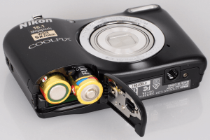 Nikon L29 Manual - battery slot opened
