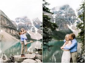 Destination engagement session at Lake Moraine in Banff National Park