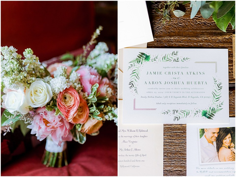 Los Angeles Destination Wedding at Smoky Hollow Studios by Cameron and Tia Photography bouquet and invitation