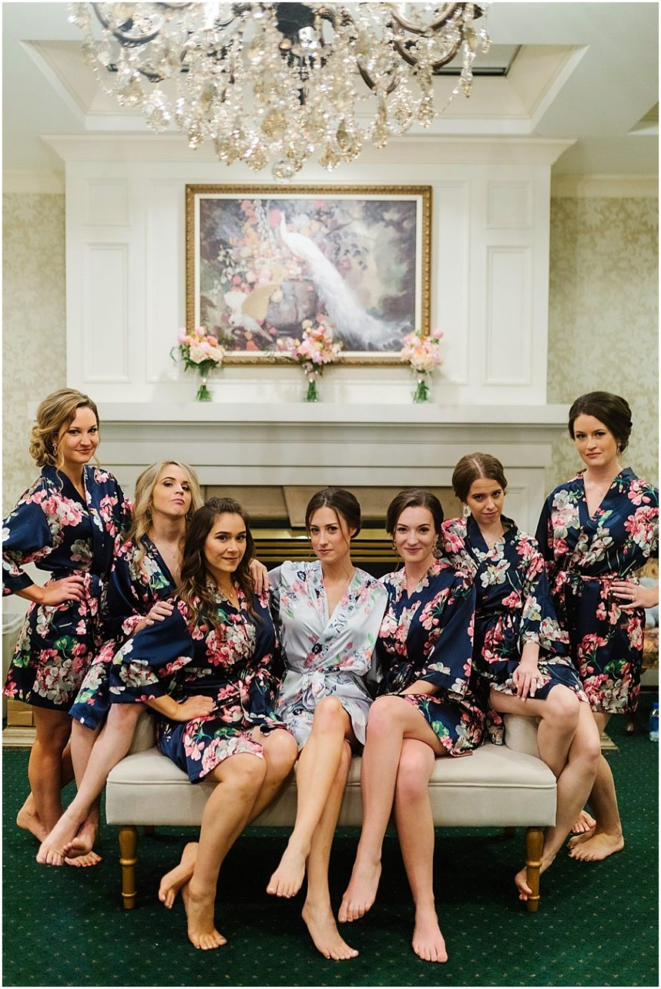 Bearpath Golf and Country Club Spring Wedding bridesmaids in bridal suite
