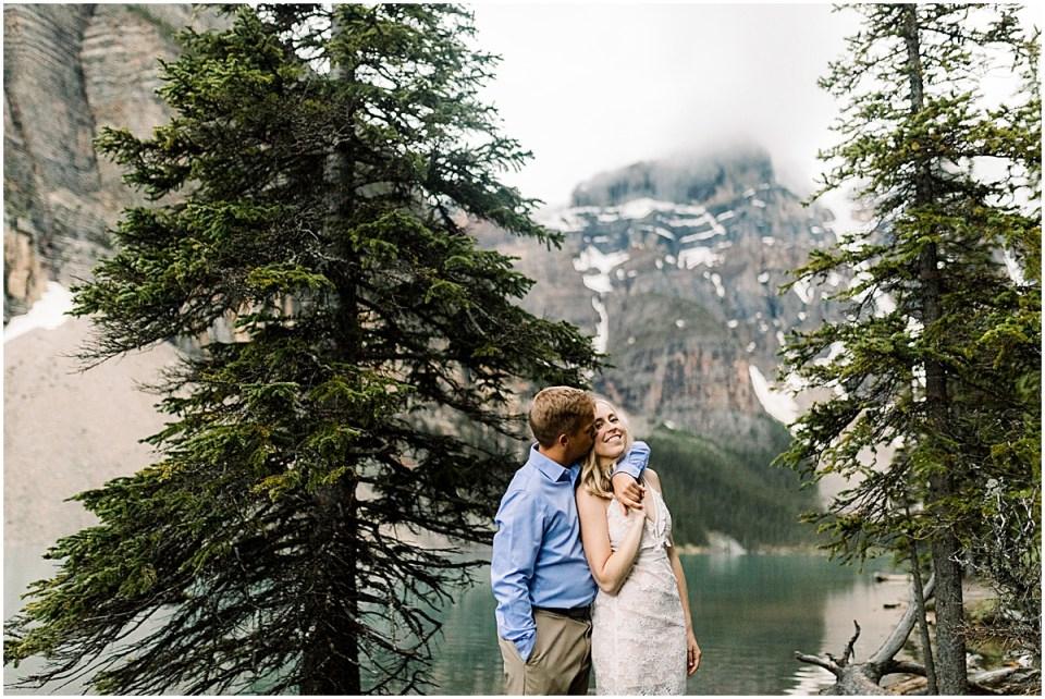 Lake Moraine in Banff National Park Destination Engagement Session