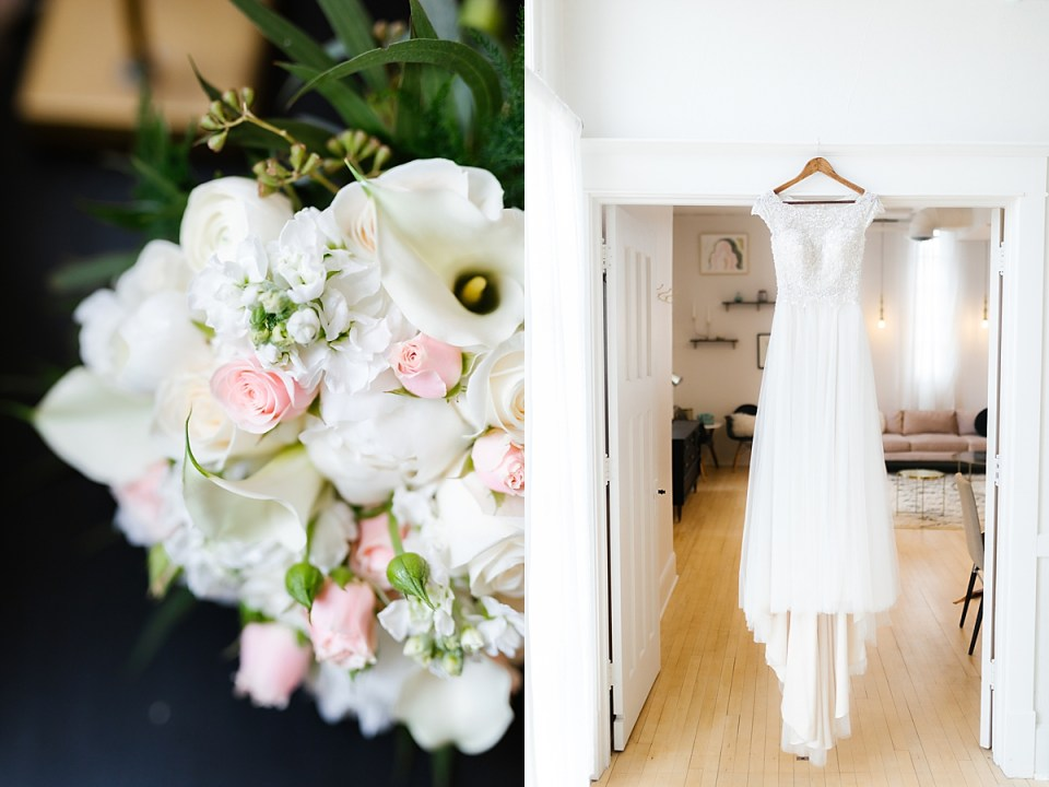 The Capitol Room Wedding with bouquet and chic wedding gown