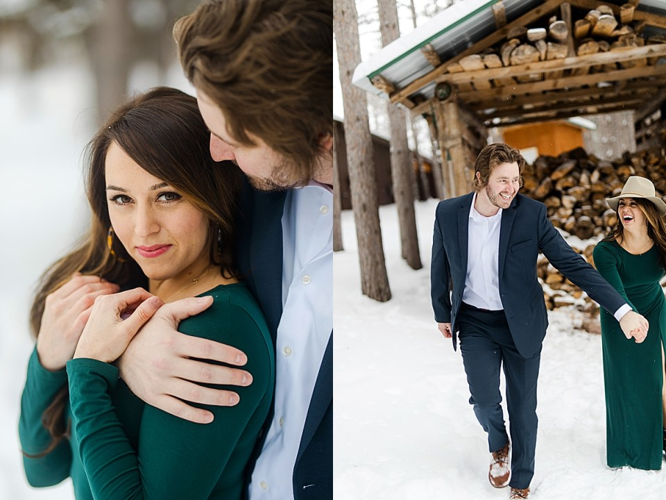 Woodsy Winter Engagement Session with makeup trial
